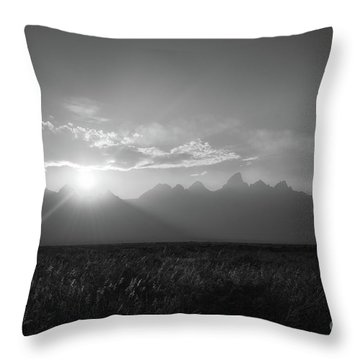 Grand Teton Open Plains Sunset Throw Pillow