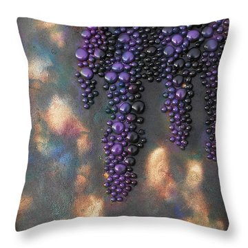 Grapes Throw Pillow by Angela Stout