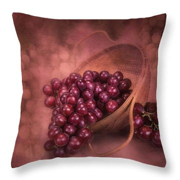 Grapes In Wicker Basket Throw Pillow