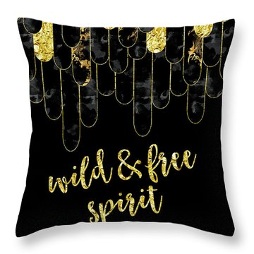 Graphic Art Feathers Wild And Free Spirit - Sparkling Metals Throw Pillow