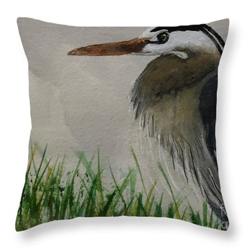 Throw Pillow featuring the painting Great Blue Heron by Donald Paczynski