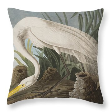 Great Egret Throw Pillow by John James Audubon