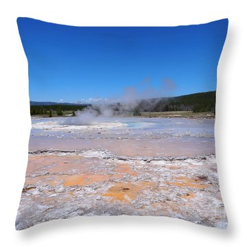 Great Fountain Geyser In Yellowstone National Park Throw Pillow by Louise Heusinkveld