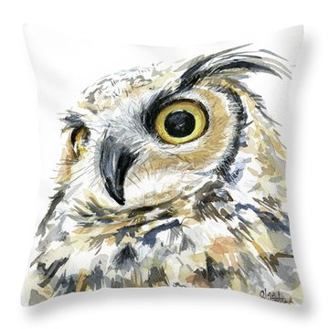 Great Horned Owl Throw Pillows