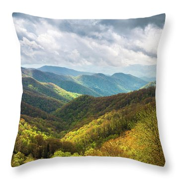 Great Smoky Mountains North Carolina Spring Scenic Landscape Throw Pillow