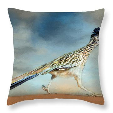 Greater Roadrunner Throw Pillow by Barbara Manis