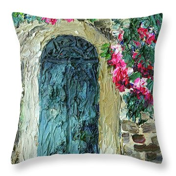 Green Italian Door With Flowers Throw Pillow