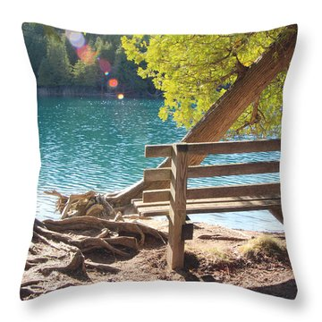 Green Lakes Throw Pillow