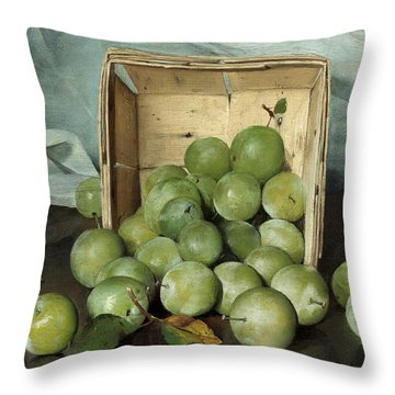 Green Plums Throw Pillow