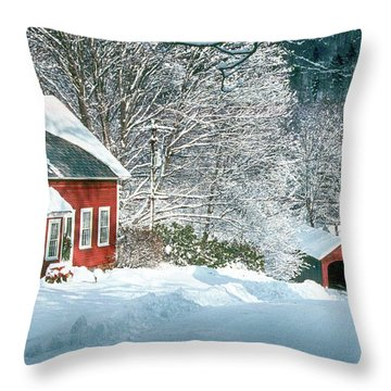 Throw Pillow featuring the photograph Green River Bridge In Snow by Paul Miller