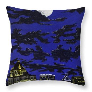 Greensboro Night Skyline Throw Pillow
