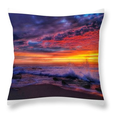Greetings From The Jersey Shore Throw Pillow by Lauren Fitzpatrick