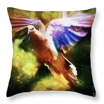 Guardian Angel Throw Pillow by Tina  LeCour
