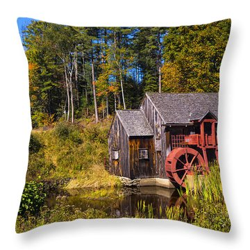 Guildhall Grist Mill In Fall Colors. Throw Pillow