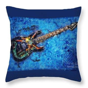 Throw Pillow featuring the digital art Guitar Love by Ian Mitchell