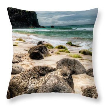 Hanakapi'ai Beach Throw Pillow