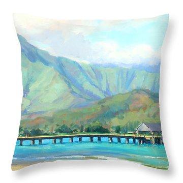 Hanalei Pier Throw Pillow