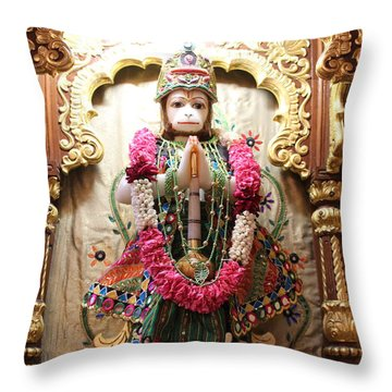 Hanuman Ji, Radha Gopinath Mandir, Mumbai Throw Pillow by Jennifer Mazzucco