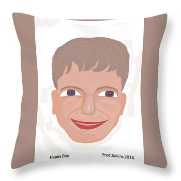Happy Boy Throw Pillow by Fred Jinkins