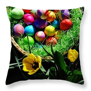 Throw Pillow featuring the photograph Happy Easter.. by Cristina Mihailescu