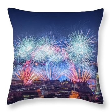 Happy New Year London Throw Pillow