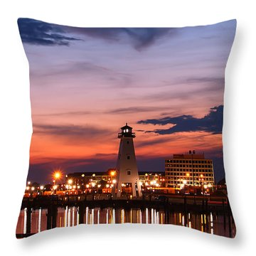Harbor Lights Throw Pillow by Brian Wright