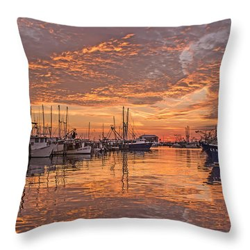 Harboring Reflections Throw Pillow by Brian Wright