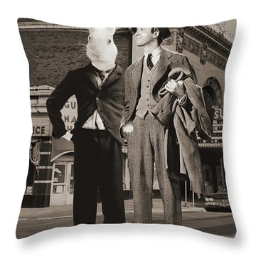 Walking With Harvey Throw Pillow