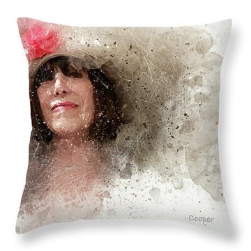 Hat With Rose Throw Pillow