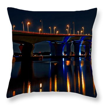 Hathaway Bridge At Night Throw Pillow