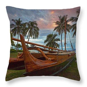 Hawaiian Sailing Canoe Throw Pillow by James Roemmling