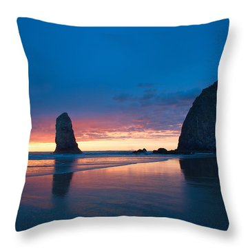 Haystack Rock Throw Pillow