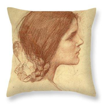Head Of A Girl Throw Pillow by John William Waterhouse