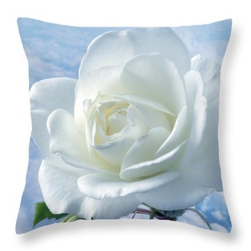 Heavenly White Rose. Throw Pillow