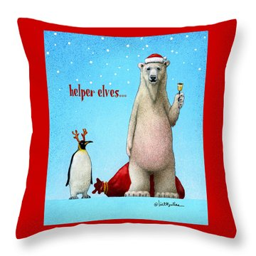 Throw Pillow featuring the painting Helper Elves... by Will Bullas