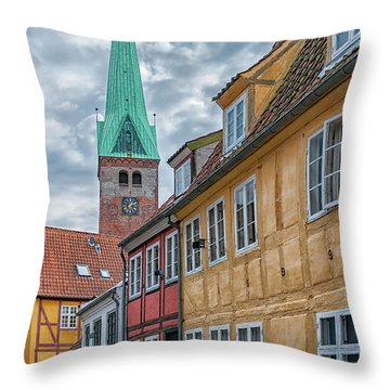 Throw Pillow featuring the photograph Helsingor Narrow Street by Antony McAulay