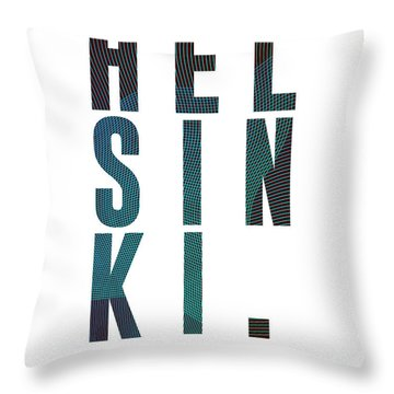Helsinki, Finland - City Name Typography - Minimalist City Posters Throw Pillow