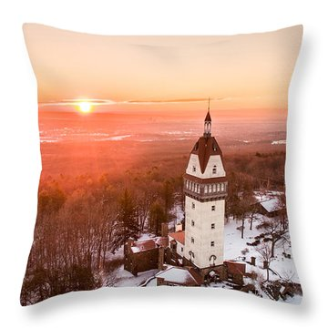 Throw Pillow featuring the photograph Heublein Tower In Simsbury, Connecticut by Petr Hejl