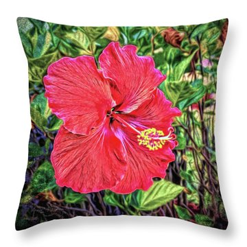 Throw Pillow featuring the photograph Hibiscus Flower by Lewis Mann