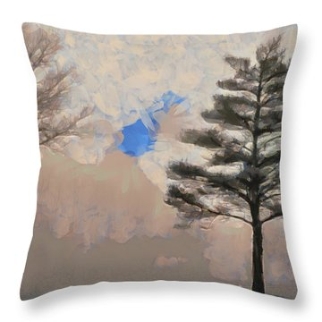 Throw Pillow featuring the mixed media Hickory by Trish Tritz