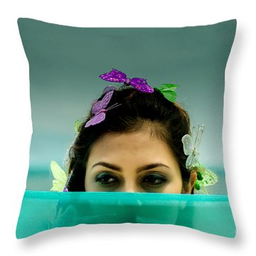 Hiding Throw Pillow by Michelle Meenawong