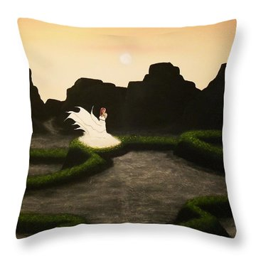 Throw Pillow featuring the painting High Fog by Edwin Alverio