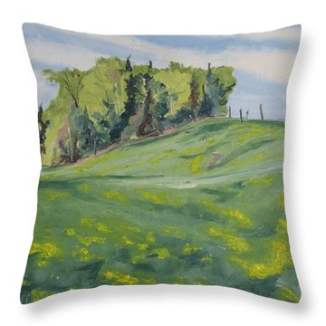 Hills Forest And Dadelions  Throw Pillow by Francois Fournier