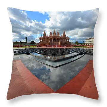Hindu Temple Baps Shri Swaminarayan Mandir Throw Pillow