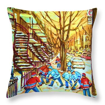 Hockey Game Near Winding Staircases Throw Pillow by Carole Spandau