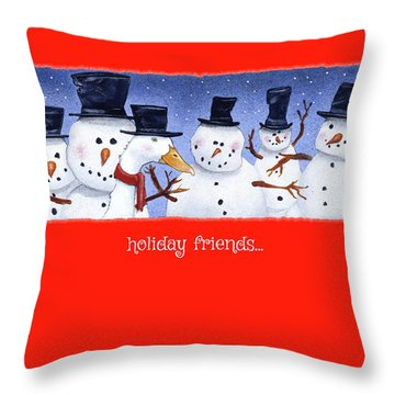 Throw Pillow featuring the painting Holiday Friends... by Will Bullas