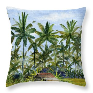 Throw Pillow featuring the painting Home Bali Ubud Indonesia by Melly Terpening