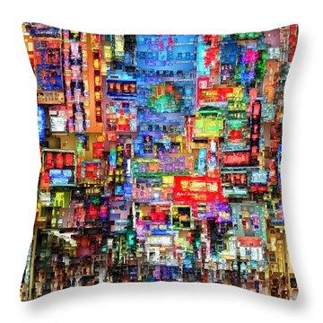 Hong Kong City Nightlife Throw Pillow
