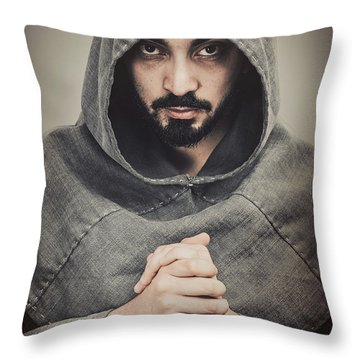 Hooded Viking Warrior Throw Pillow