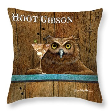 Throw Pillow featuring the painting Hoot Gibson... by Will Bullas